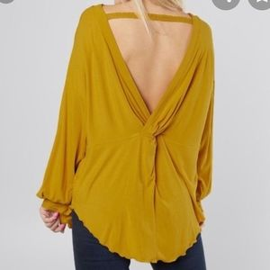 Free People/Untamed Gold open back blouse